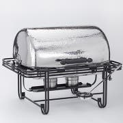 American Metalcraft Rectangular Hammered Stainless Steel Mesa Roll Top Chafer, 8 Quart -- 1 each.