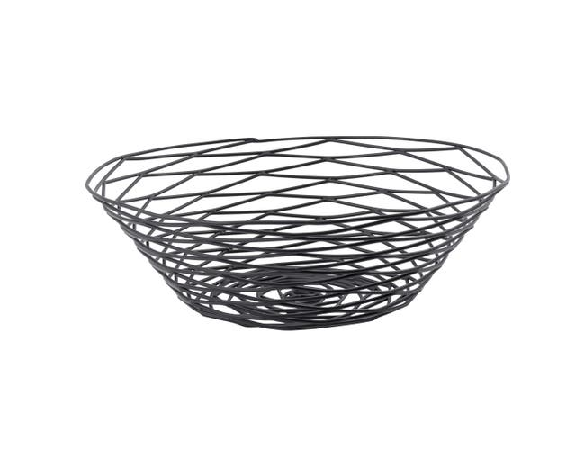 Tablecraft Artisan Collection Black Powder Coated Metal Round Serving Basket, 10 x 3 inch -- 6 per case.