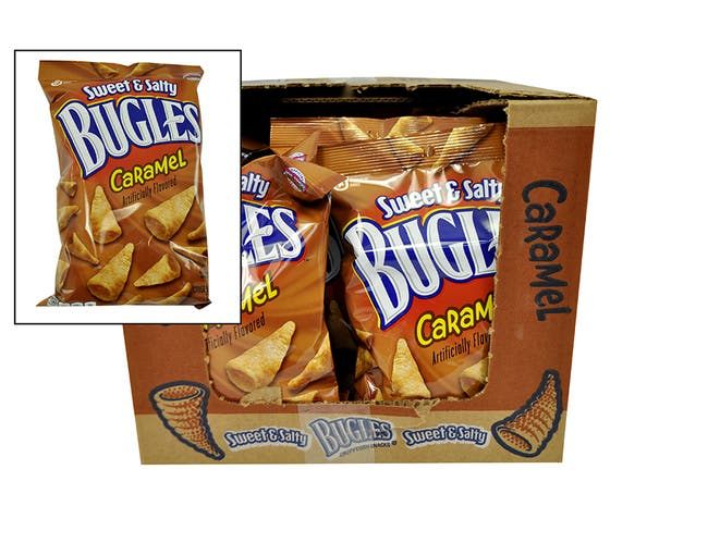 Bugles Sweet and Salty Caramel Crispy Corn Snacks, 6 Ounce -- 12 per case.