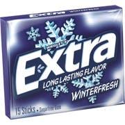Extra Winterfresh Sugarfree Gum - 10 count per pack -- 12 packs per case.