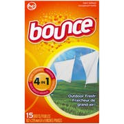 Bounce Outdoor Fresh Dryer Sheet, 15 count per pack -- 15 per case.