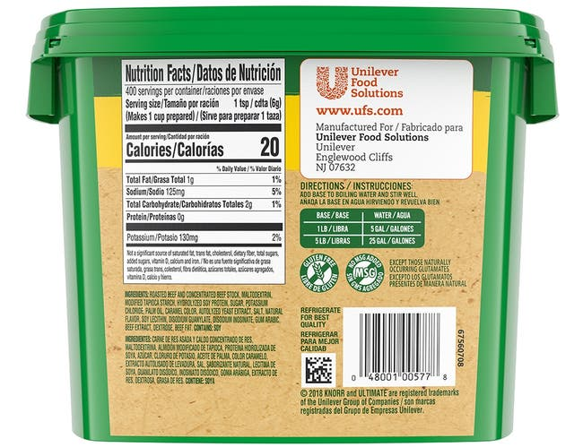 Knorr Professional Ultimate Low Sodium Gluten Free Roasted Beef Base, 5 pound -- 4 per case
