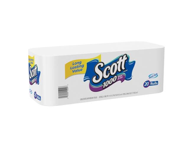 Scott White Bath Tissue - 20 rolls per pack -- 45 packs per case.