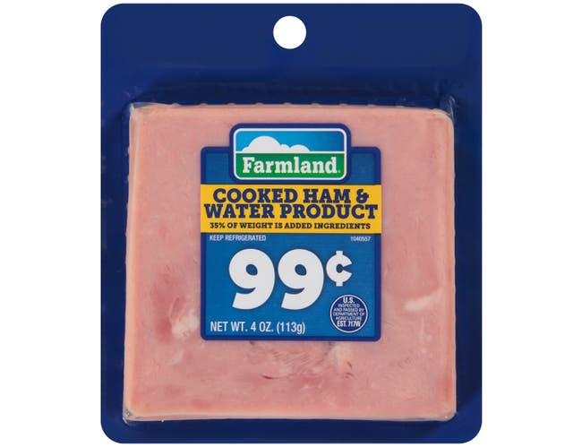 Farmland Pre Priced Cooked Ham and Water, 4 Ounce -- 12 per case.