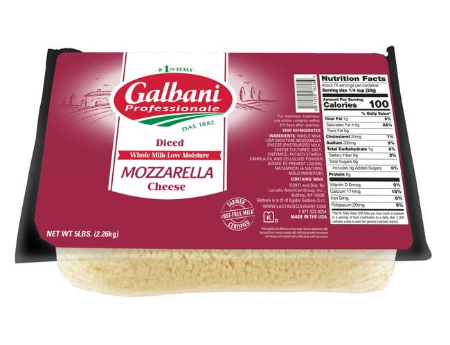 Galbani Whole Milk Low Moisture Diced Mozzarella Cheese, 5 Pound -- 6 per case