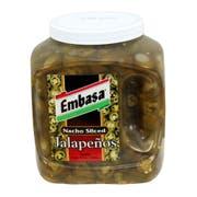 Embasa Pepper Nacho Sliced Jalapeno, Plastic Jar, 1 Gallon -- 4 Case