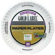 AJM Packaging Coated Gold Label Paper Plate, 7 inch -- 1000 per case.