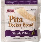 Kangaroo White Whole Pita Pocket Bread, 14 Ounce -- 12 per case.