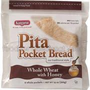 Kangaroo Whole Wheat Honey Pita Pocket Bread, 10 Ounce -- 12 per case.