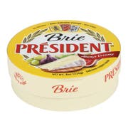 President Precious Plain Brie Soft Ripened Cheese, 8 Ounce -- 6 per case.