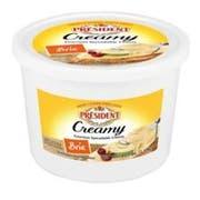 President Creamy Brie Gourmet Spreadable Cheese, 3.25 Pound -- 2 per case.