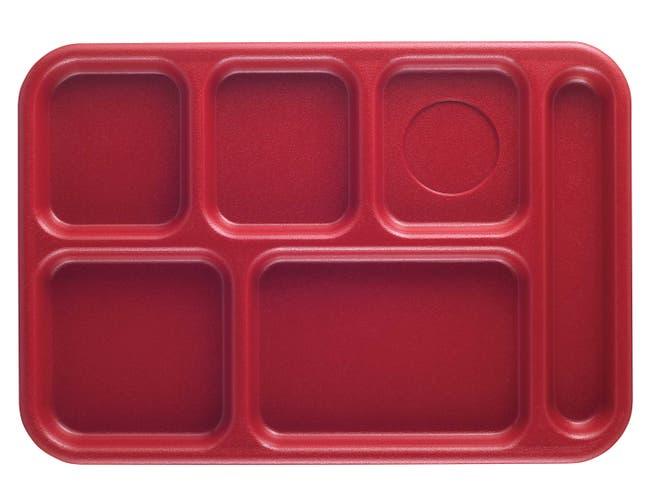 Cambro Budget 6 Compartment School Tray, Red, 10 x 14 inch -- 24 per case.
