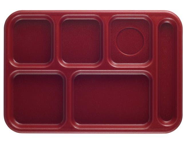 Camwear Six Compartment School Tray, Cranberry, 10 X 14 1/2 X 15/16 inch -- 24 per case.
