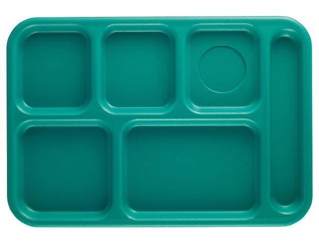 Cambro Budget 6 Compartment School Tray, Teal, 10 x 14 inch -- 24 per case.