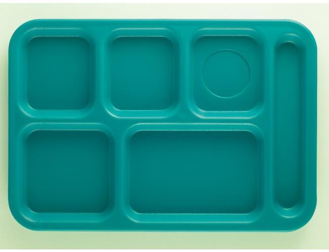 Cambro Penny Saver 6 Compartment School Tray, Teal, 10 x 14.5 inch -- 24 per case.