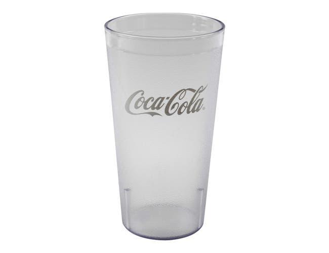 Cambro Clear Coca Cola Tumbler, 32 Ounce Capacity -- 24 per case.