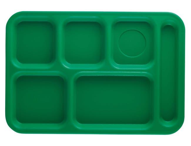 Cambro Penny Saver 6 Compartment School Tray, Grass Green, 10 x 14.5 inch -- 24 per case.