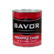 Savor Imports Choice Pineapple Chunk in Natural Juice,  109 ounce -- 6 per case.