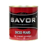 Savor Imports Diced Pear in Light Syrup,  109 ounce -- 6 per case.