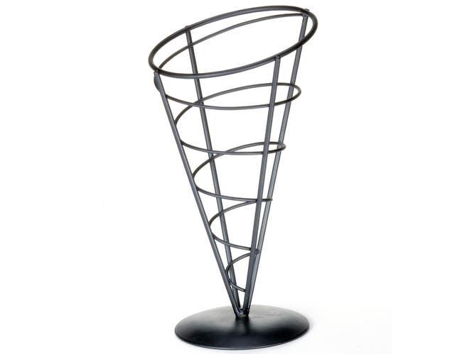Tablecraft Vertigo Collection Black Powder Coated Metal Appetizer Cone, 5 x 9 inch -- 6 per case.