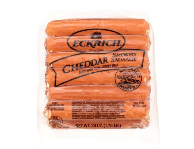 Eckrich Cheddar Smoked Sausage Link, 28 Ounce -- 6 per case.