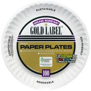 AJM Packaging Coated Gold Label Paper Plate, 9 inch -- 1200 per case.