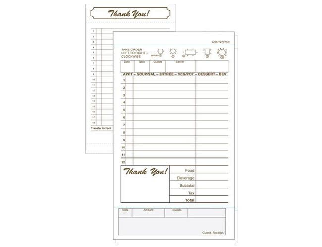 Daymark 2 Part Tan On Carbon Guest Check Book -- 8 per case.