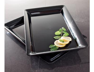 Party Tray Black Rectangular Tray, 12 x 18 -- 20 per case.