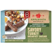 Applegate Savory Turkey Breakfast Sausage, 7 Ounce -- 12 per case.