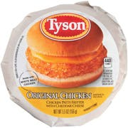 Tyson Foods Original Chicken Patty Fritter with Cheddar Cheese Sandwich, 5.5 Ounce -- 12 per case.