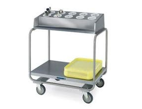 Lakeside Stainless Steel Tubular Tray and Flatware/Silver Condiment Cart, 130 Tray Capacity -- 1 each.