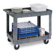 Lakeside Traditional Series KD Medium Duty Gray 2 Shelf Deep Well Plastic Utility Cart, 24 x 36 inch Shelf Size -- 1 each.