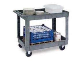 Lakeside Traditional Series KD Medium Duty Gray 2 Shelf Deep Well Plastic Utility Cart, 24 x 36 inch Shelf Size -- 1 each.