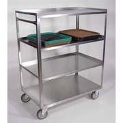 Lakeside Stainless Steel Medium Duty 4 Shelves Banquet Cart - 3 Shelf Edges Up and 1 Shelf Edge Down, 22 1/4 x 36 3/8 x 45 5/8 inch -- 1 each.