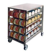 Lakeside Stainless Steel Mobile Can Storage and Dispensing Rack, 26 x 40 1/8 x 41 1/4 inch -- 1 each.