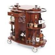 Lakeside Geneva Bordeaux Wood Veneer Wine/Liquor Serving Cart, 19 5/8 x 39 2/8 x 40 1/2 inch Overall Size -- 1 each.