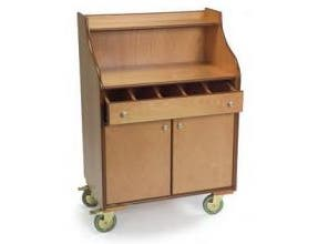 Lakeside Geneva Wood Veneer Blonde Finish 5 Compartments with Fixed Divider Mobile Wait Stand, 19 3/4 x 31 1/2 x 45 1/2 inch -- 1 each.