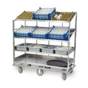 Lakeside Stainless Steel 2 Flat and 2 Angled Shelf Soiled Dish Breakdown Cart, 28 x 62 inch Shelf -- 1 each.