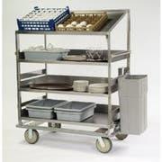 Lakeside Stainless Steel 3 Flat and 1 Angled Shelf Soiled Dish Breakdown Cart, 28 x 46 inch Shelf -- 1 each.