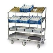 Lakeside Stainless Steel 1 Flat and 3 Angled Shelf Soiled Dish Breakdown Cart, 28 x 70 inch Shelf -- 1 each.