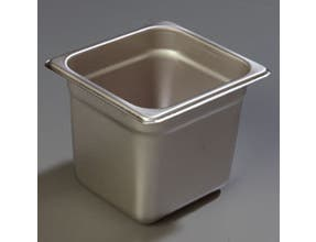 6 inch Depth DuraPan 18-8 Stainless Steel Heavy Gauge One Sixth Size Food Pan -- 6 per case