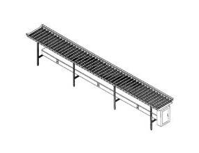 Dinex PVC Roller Conveyor - 12 Foot Section -- 1 each.