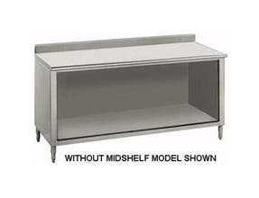 Stainless Steel 1 1/2 inch Backsplash Enclosed Base Work Table - Open Base, 24X48 inch -- 1 each.
