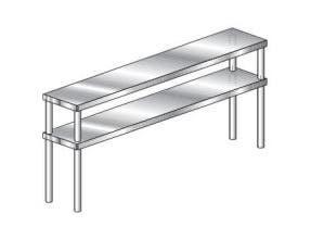 Aero NSF Aerospec Table Mounted Double Overshelf - 14 Gauge, 15 inch width -- 1 each.