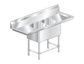 Aero Aerospec Two Compartment NSF Sink - 14 Gauge, 24 inch wide -- 1 each.