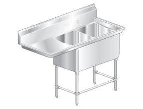 Aero Aerospec Two Compartment NSF Sink - 14 Gauge, 30 inch wide -- 1 each.