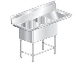 Aero Aerospec Two Compartment NSF Sink - 14 Gauge, 20 inch wide -- 1 each.