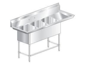 Aero Aerospec Three Compartment NSF Sink - 14 Gauge, 24 inch wide -- 1 each.
