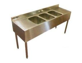 Aero 16 Gauge 430 Stainless Three Compartment NSF Convenience Store Sink, 21 x 65 x 18 inch -- 1 each.