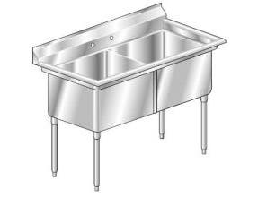 Aero 16 Gauge 430 Stainless Two Compartment NSF Sink, 30.5 x 55 x 26 inch -- 1 each.